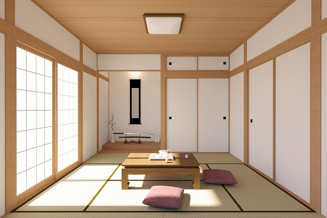 Japanese living room interior in traditional and minimal design with Tatami mat floor, Japanese Shoji door and Japanese sword