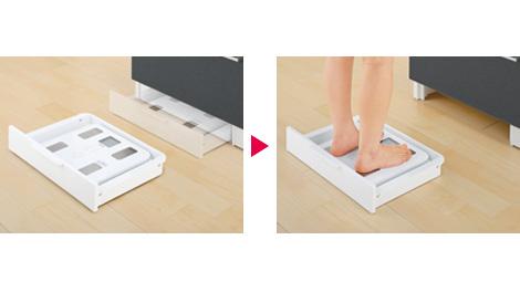 「けこみ」にスライド式に収納できる体重計